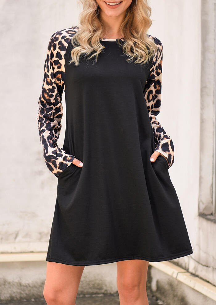 Mini Dresses Leopard Splicing Pocket Mini Dress in Black. Size: S,M,L,XL фото