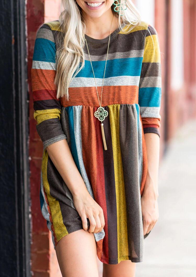 Color Block Striped Pocket Mini Dress without Necklace