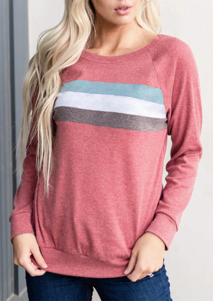 Color Block Striped T-Shirt Tee – Pink