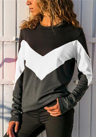 Color Block V-Shapd O-Neck T-Shirt Tee