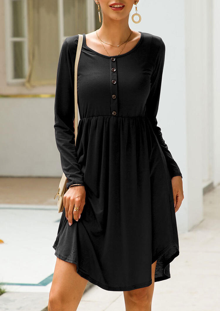 Solid Button Long Sleeve Casual Dress – Black