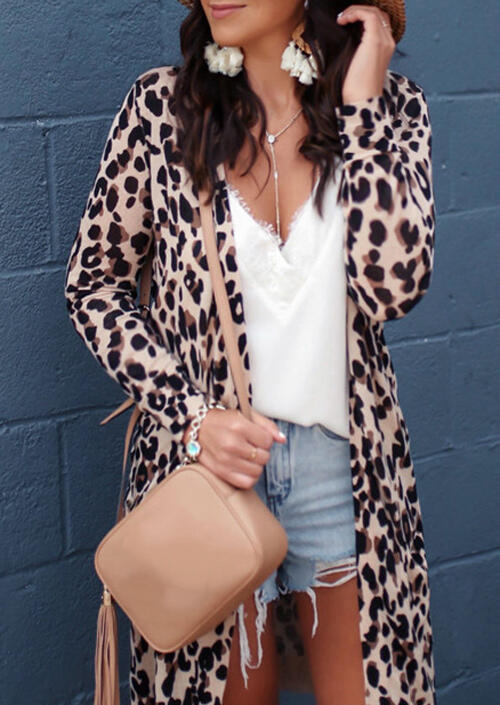 Leopard Pocket Cardigan without Necklace фото