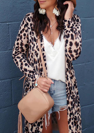 Leopard Pocket Cardigan without Necklace