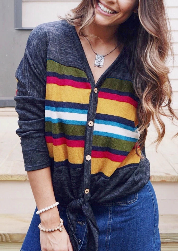 Striped Tie Button V-Neck Blouse without Necklace – Multicolor