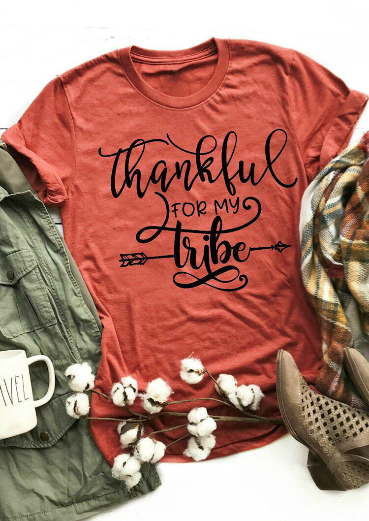 Thankful For My Tribe T-Shirt Tee - Brick Red