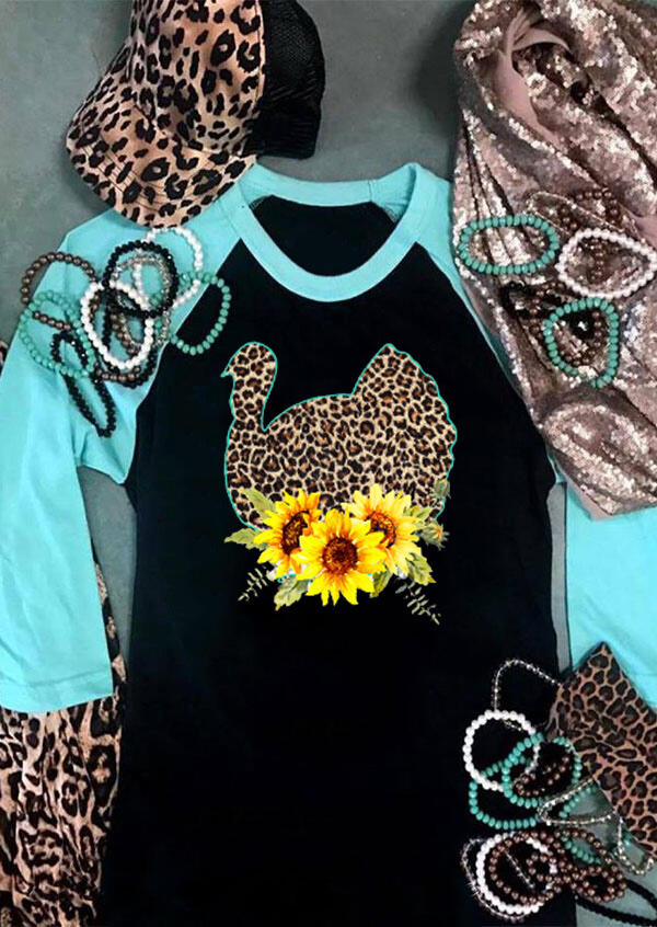 Leopard Printed Sunflower Turkey T-Shirt Tee - Black фото