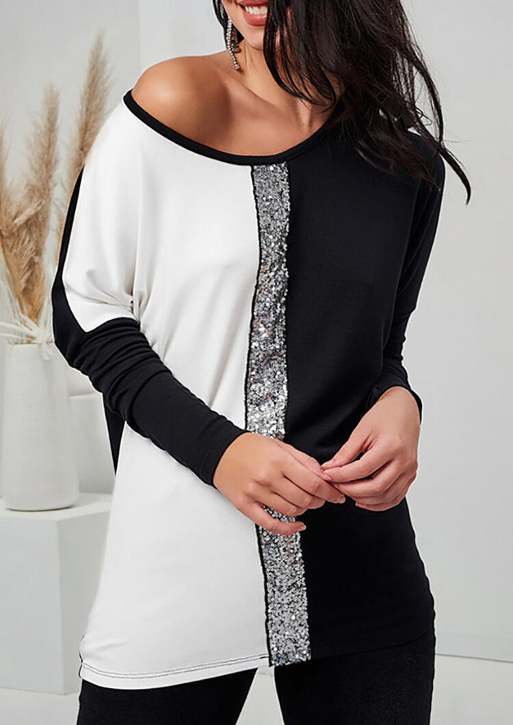 Color Block Sequined Splicing Blouse – White
