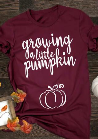 Maternity Growing A Little Pumpkin T-Shirt Tee - Burgundy