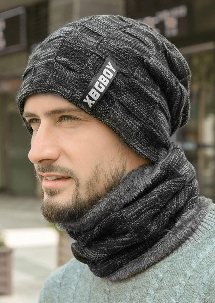 Men Winter Warm Scarf and Knitted Hat Set
