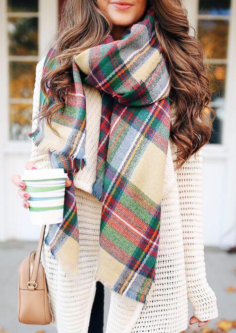 Winter Warm Colorful Plaid Wrap Shawl Scarf