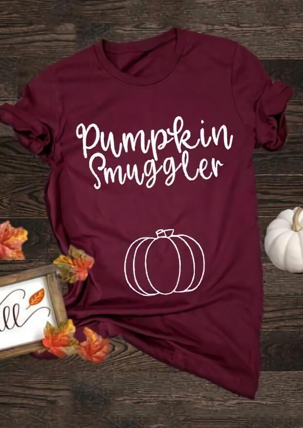 Maternity Pumpkin Smuggler T-Shirt Tee – Burgundy