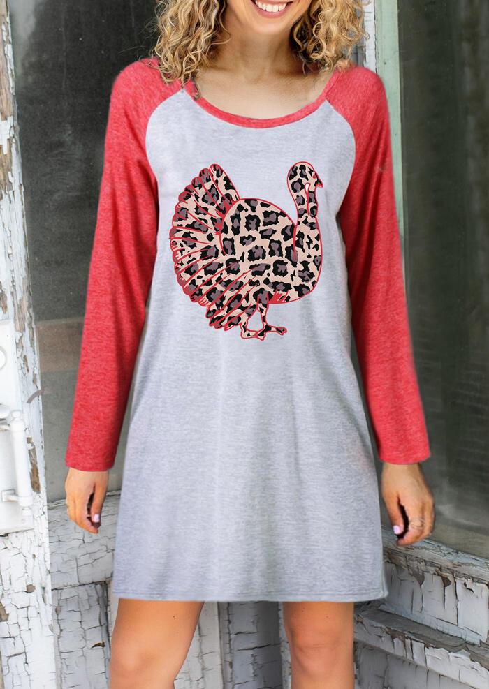 Leopard Printed Turkey O-Neck Mini Dress – Light Grey