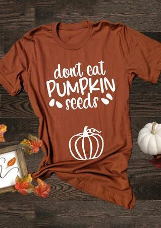 Maternity Don't Eat Pumpkin Seeds T-Shirt Tee - Orange