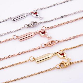 Love Heart Wine Bottle Pendant Necklace