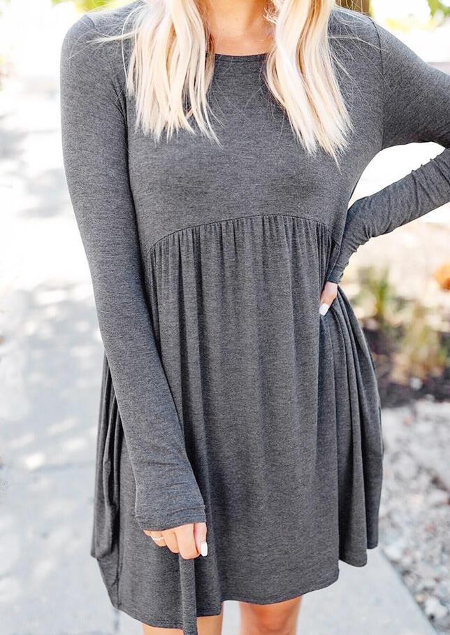 Solid Ruffled O-Neck Mini Dress – Gray