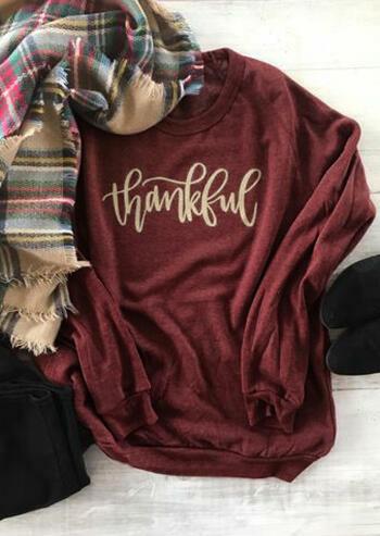 Thankful O-Neck Long Sleeve Sweatshirt