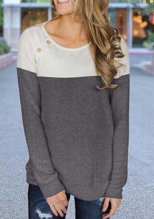 Color Block O-Neck T-Shirt Tee - Gray