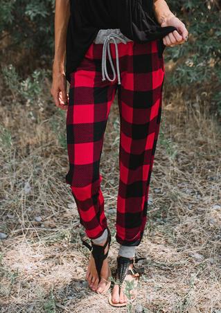 Plaid Splicing Drawstring Skinny Pants
