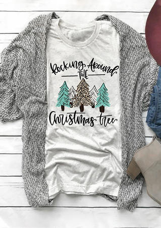 Rocking Around The Christmas Tree T-Shirt Tee - Gray