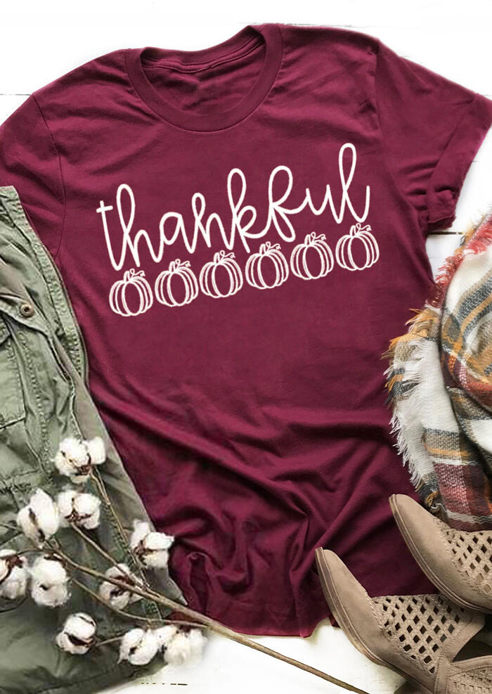 Thankful Pumpkin O-Neck T-Shirt Tee – Burgundy