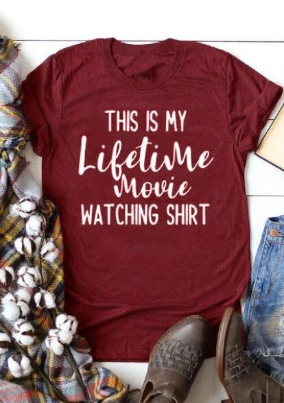 This Is My Lifetime Movie Watching T-Shirt Tee – Burgundy