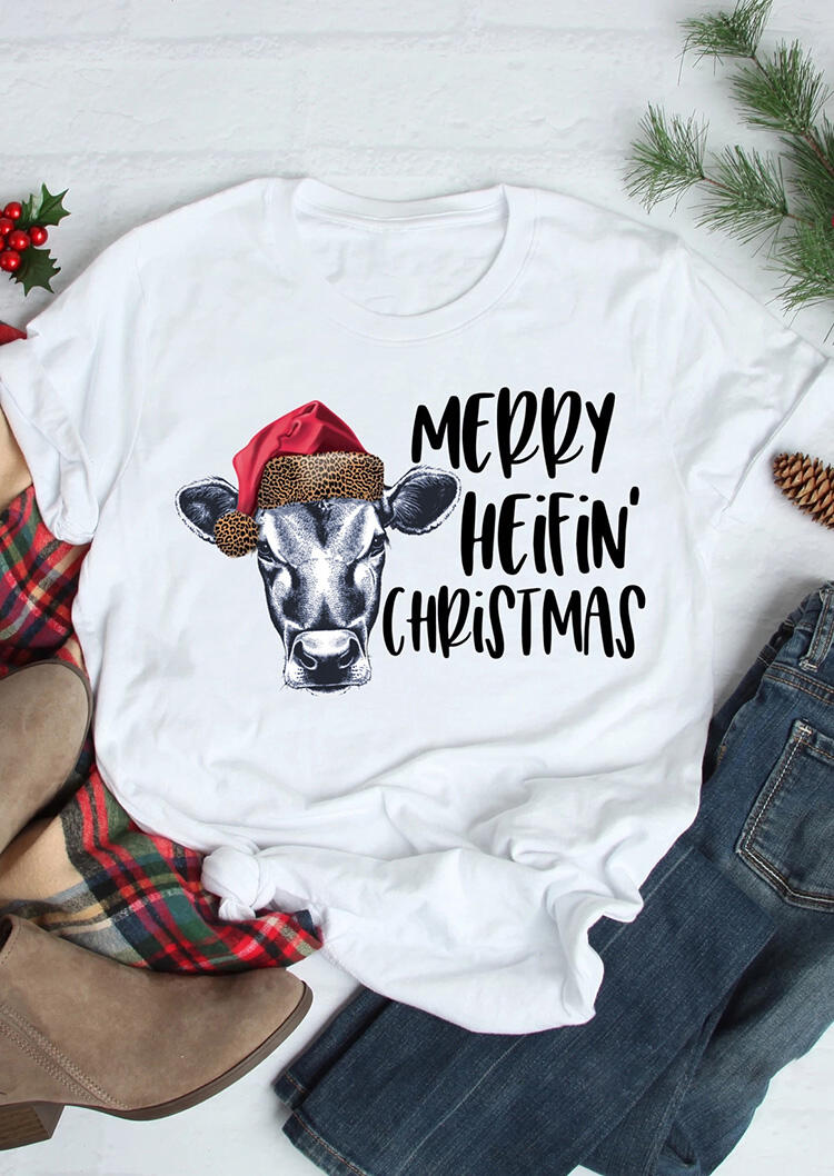 Merry Heifin' Christmas Leopard Printed Splicing T-Shirt Tee – White