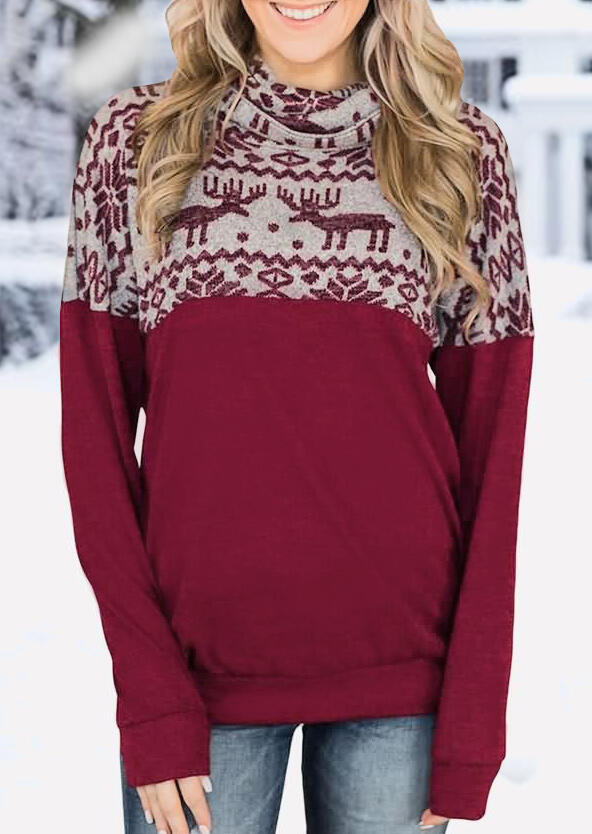 Christmas Reindeer Cowl Neck Sweatshirt - Burgundy фото