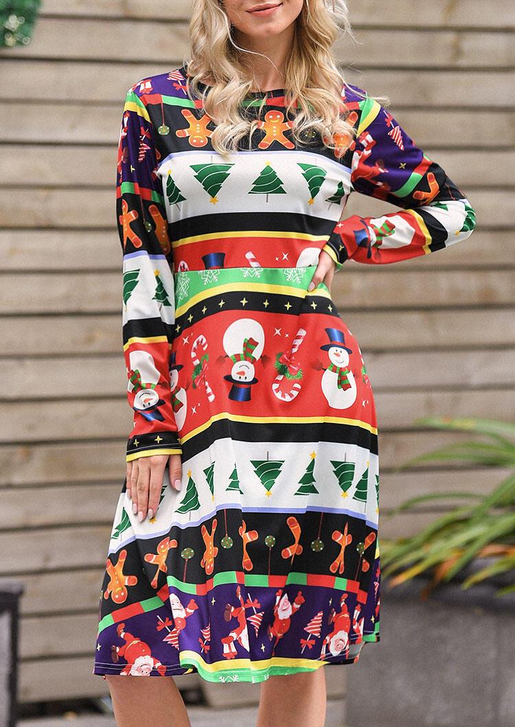 Christmas Tree Snowman Casual Dress - Multicolor фото