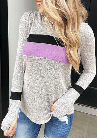 Color Block Striped Splicing Thumbhole Hoodie - Gray