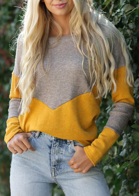 Color Block Splicing Sweater – Yellow