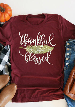 Feather Thankful Blessed T-Shirt Tee - Burgundy