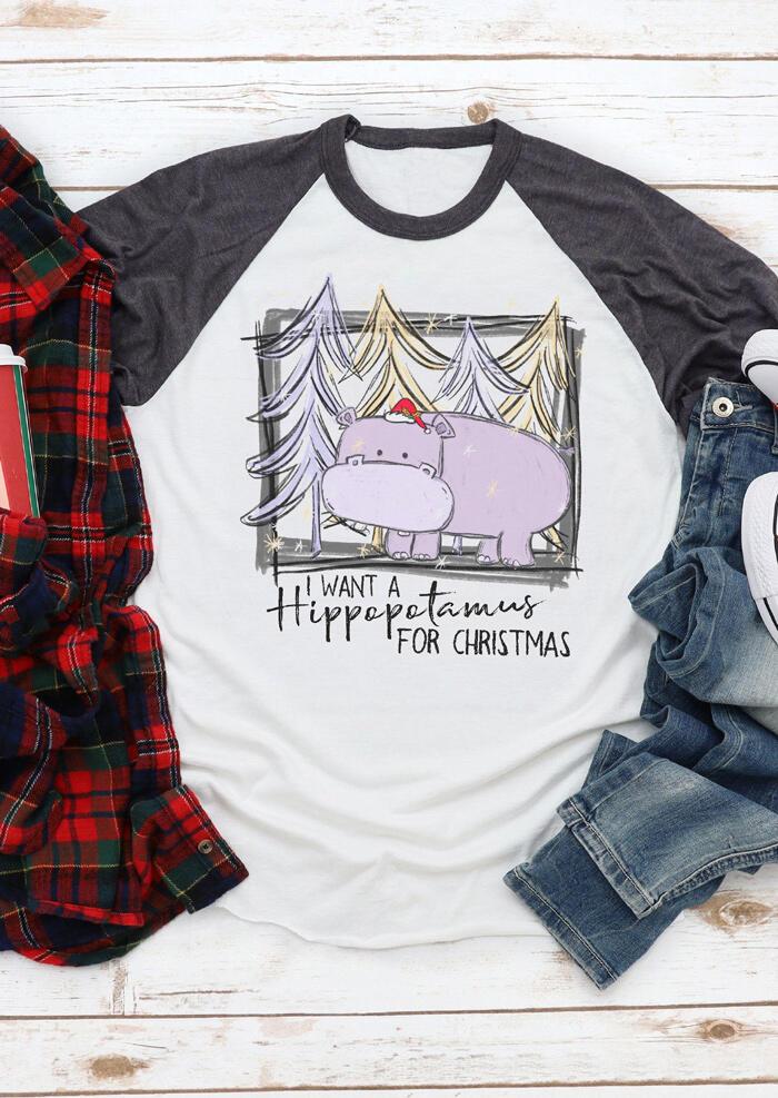 I Want A Hippopotamus For Christmas T-Shirt Tee – White