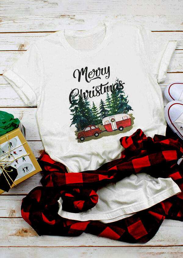 Merry Christmas T-Shirt Tee – White