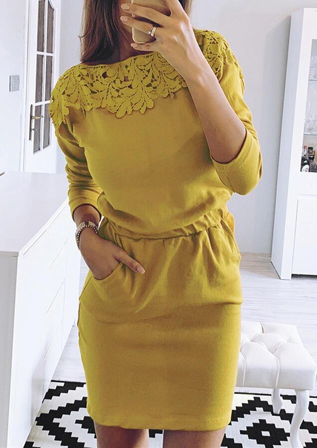 Solid Lace Splicing Pocket Drawstring Bodycon Dress – Yellow