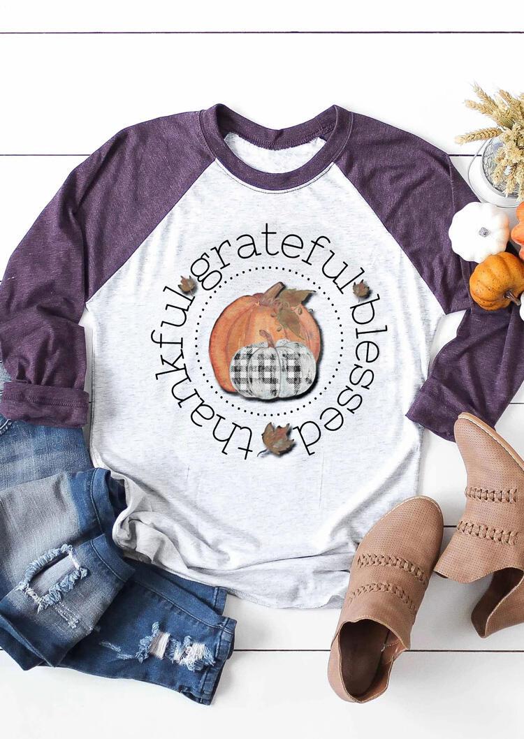 Thankful Grateful Blessed Pumpkin T-Shirt Tee – Light Grey