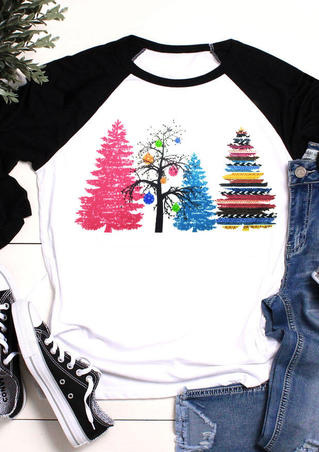 Colorful Christmas Tree T-Shirt Tee - White