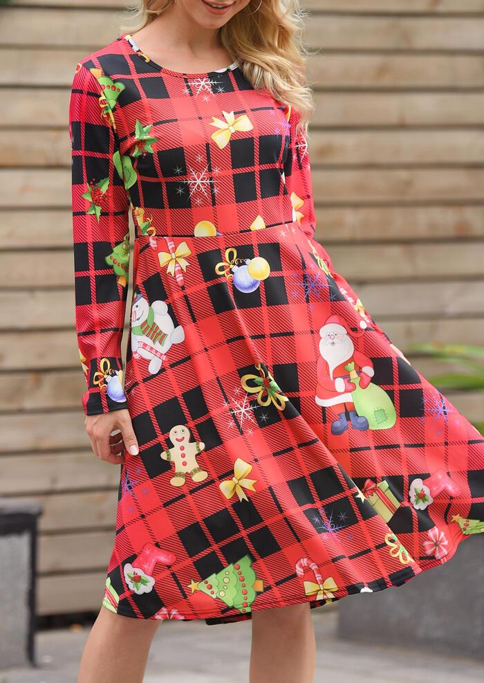 Mini Dresses Christmas Santa Claus O-Neck Mini Dress in Red. Size: S,M,L,XL фото