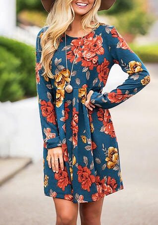 Floral Long Sleeve Mini Dress without Necklace - Cyan