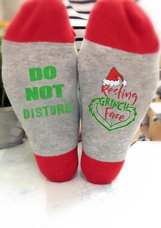 Christmas Resting Grinch Face Socks