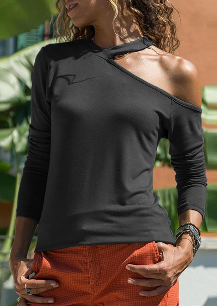 Solid V-Neck One Cold Shoulder  Long Sleeve Blouse – Black
