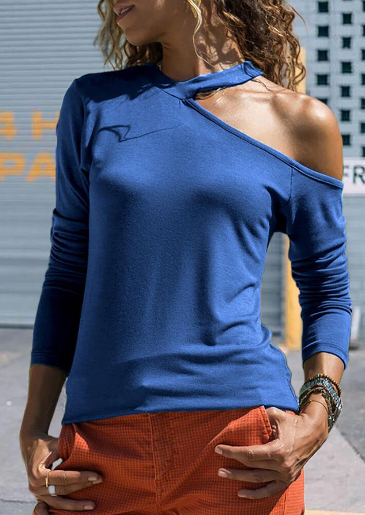 Solid V-Neck One Cold Shoulder  Long Sleeve Blouse – Blue