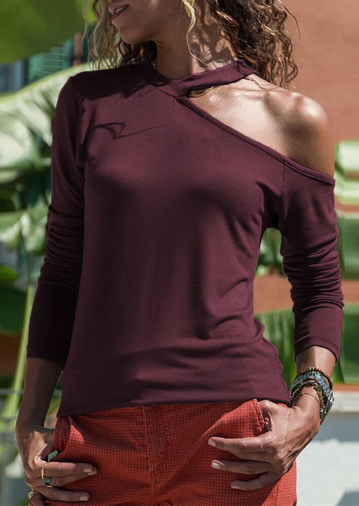 Solid V-Neck One Cold Shoulder  Long Sleeve Blouse – Burgundy