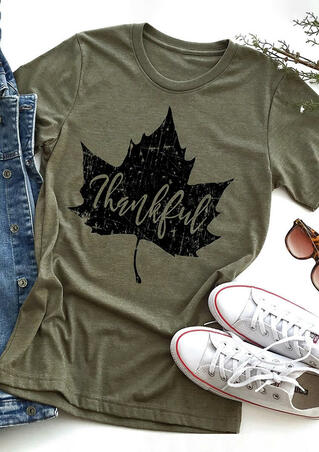 Thankful Maple Leaves T-Shirt Tee - Army Green