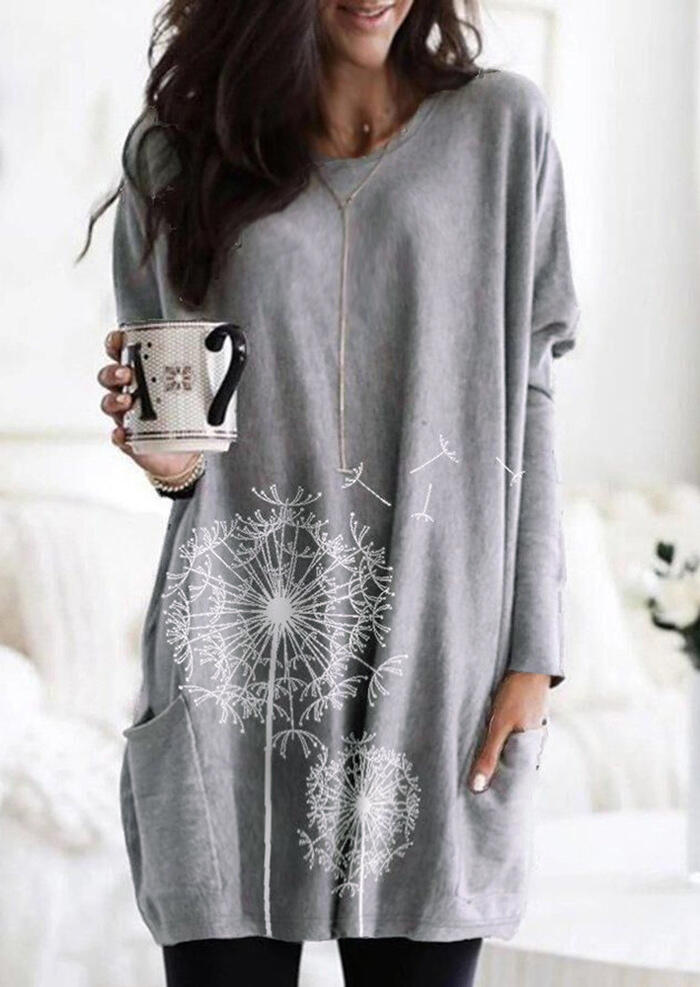 Dandelion Printed Pocket O-Neck Blouse without Necklace – Gray