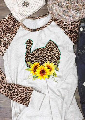 Floral Leopard Printed Turkey T-Shirt Tee – Light Grey