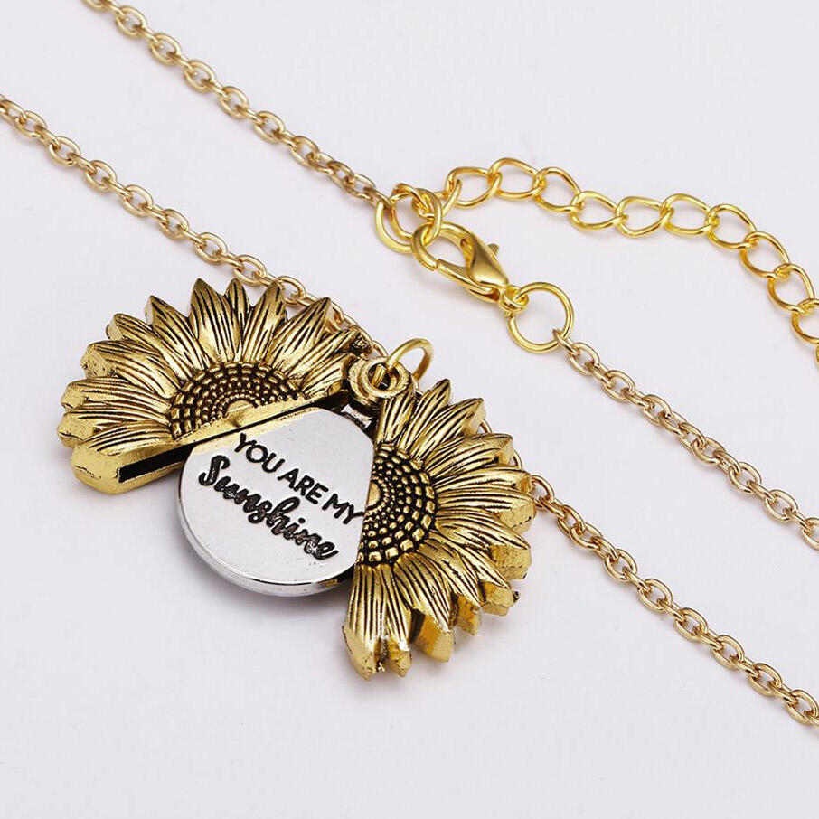 You are My Sunshine Engraved Necklace Sunflower Locket Necklace фото