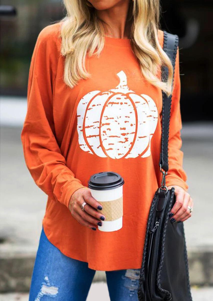 Pumpkin Long Sleeve Blouse -Orange