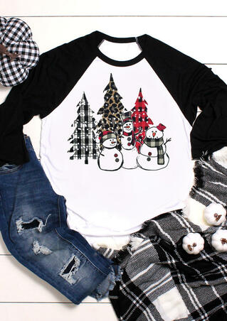 Leopard Plaid Splicing Christmas Tree Snowman T-Shirt Tee - White