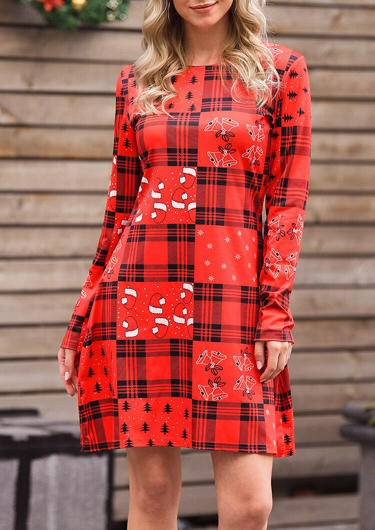 Merry Christmas Plaid Splicing Mini Dress – Red