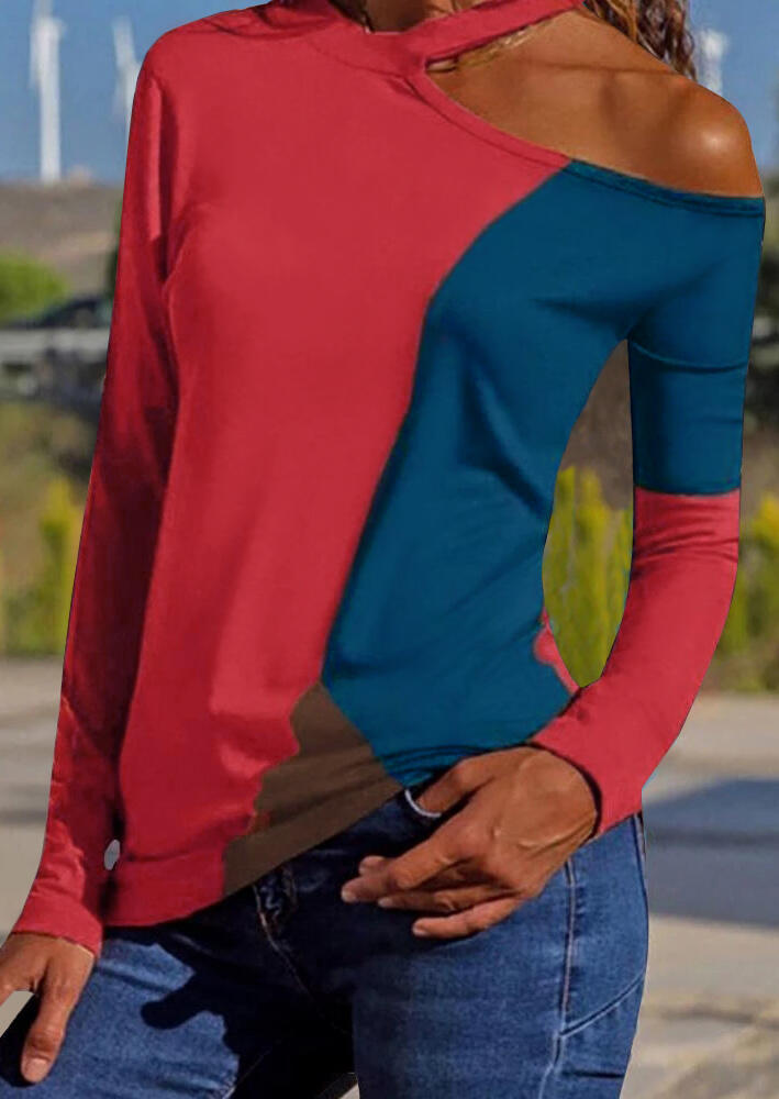 Color Block Hollow Out Blouse – Brick Red